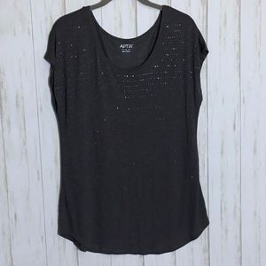 APT. 9 Dark Gray Studded Short Sleeve Blouse
